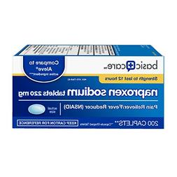 Basic Care Naproxen Sodium Tablets, 200 Count