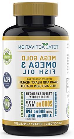 Omega 3 Fish Oil Advanced Brain Power Supplement, Skin, Hair