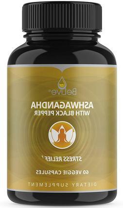 Organic Ashwagandha Capsules - Extra Strength Pills for Stre