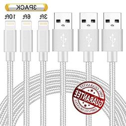 Zcen Phone Charger 3Pack 3FT 6FT 10FT Nylon Braided 8 Pin Ch