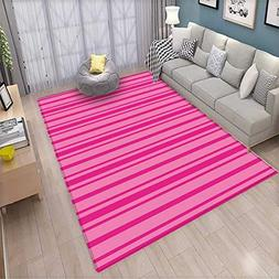 Hot Pink Extra Large Area Rug Horizontal Bold and Thin Strip