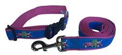 Preston Pink Surfboard Dog Collar and Leash Set - Hip Pink B