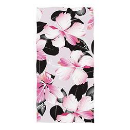 Horatiood Huberyyd Pink Tropical Hibiscus Flowers with Black