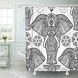 """Emvency Shower Curtain 72""""x78"""" Polyester Fabric Indian Patte"""