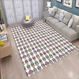 Skulls Decorations Extra Large Area Rug Day of The Dead Colo