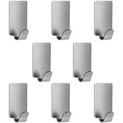 8 Pack Stainless Steel Hooks, Anteer 3M Self Adhesive Wall H