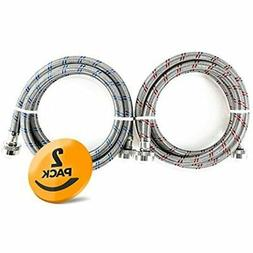 2-Pack Stainless Steel Washing Machine Hoses Burst Proof, 6f