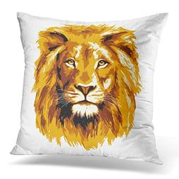 Emvency Throw Pillow Cover Brown Head Big Fiery Lion Orange