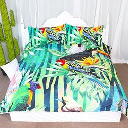 3 Pieces Tropical Plants Duvet Cover Set Emerald Green Jungl