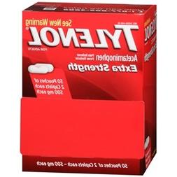 Tylenol Extra Strength 50 Pouches of 2 Caplets Each