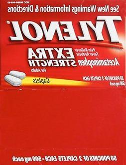 Tylenol Extra-Strength, 2-Caplet Dosage, 100 caplets total,5
