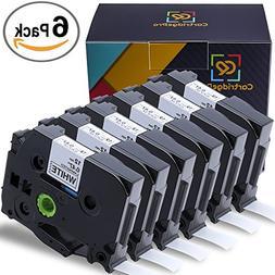 CartridgePro 6-Pack TZe231 Label Tape 12mm x 8m Black on Whi